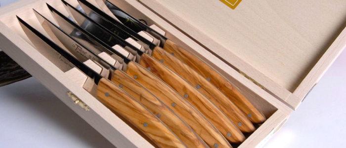 Claude Dozorme Thiers 6-teilig. Steakmesser Set, Olivenholz