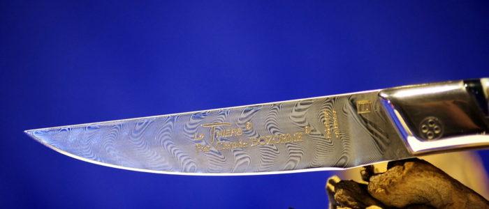 Taschenmesser Thiers Claude Dozorme, Damast, Mammutbackenzahn blue perl