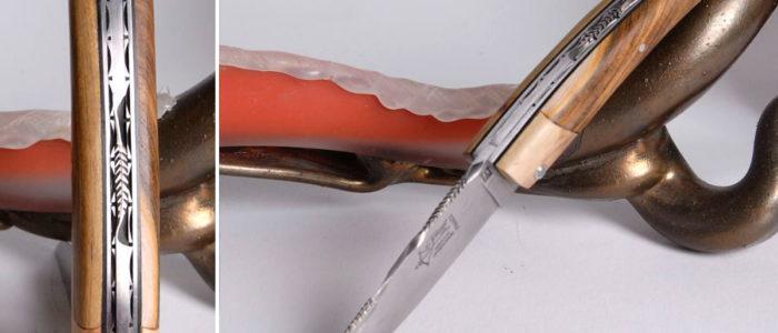 Taschenmesser Thiers Arbalete Genes David, Pistazie / Wacholder
