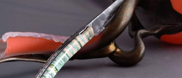 Taschenmesser GOYON-CHAZEAU, Thiers, Damast, Mammutbackenzahn espérance