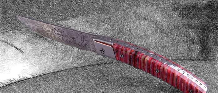 Taschenmesser Thiers Claude Dozorme, Damast, Mammutbackenzahn rot, brillant