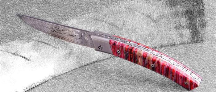 Taschenmesser Thiers Claude Dozorme, Damast, Mammutbackenzahn rot, brosse