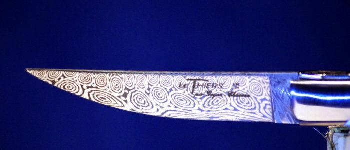 Taschenmesser Thiers Goyon-Chazeau, Damast, Hirschhorn, 10 cm