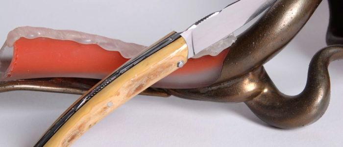 Taschenmesser Thiers Arbalete Genes David, fossiles Holz