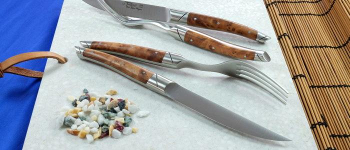 GOYON-CHAZEAU Thiers Avantage, 4-teilig, Steakmesser und Gabeln, Thuya brosse