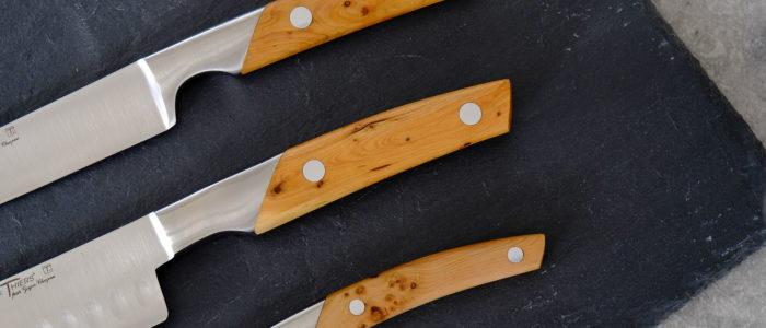 Küchenmesserset, 3 Messer Thiers Goyon-Chazeau, Wacholdergriff
