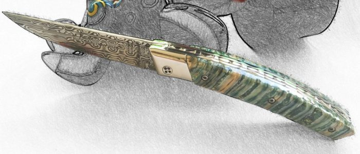 Taschenmesser Thiers Claude Dozorme, Damast, Mammutbackenzahn grün, brillant