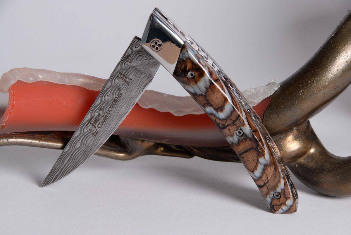 Taschenmesser Thiers Claude Dozorme, Damast, Mammutbackenzahn serpent