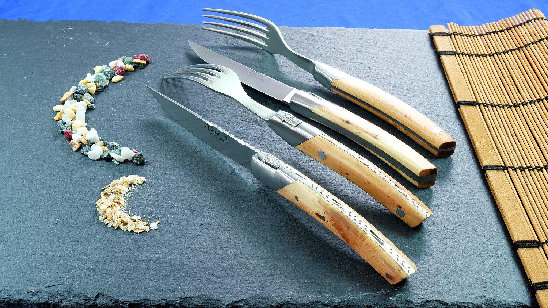 GOYON-CHAZEAU, Steakmesserset und Gabeln 4-teilig Thiers Prestige Pirou, Wacholder, brosse
